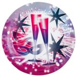Happy New Year Paper Plate (8 pieces) 23 cm