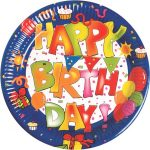 Kokliko Happy Birthday Paper Plate (10 pieces) 23 cm