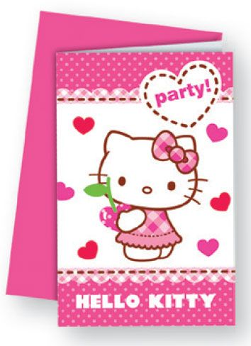 Hello Kitty Party Invitation Card Envelope 6 Pieces Javoli