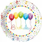 Happy Birthday Streamers Paper Plate (8 pieces) 23 cm