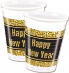 Happy New Year Retro Cup Plastic (8 pieces) 200 ml