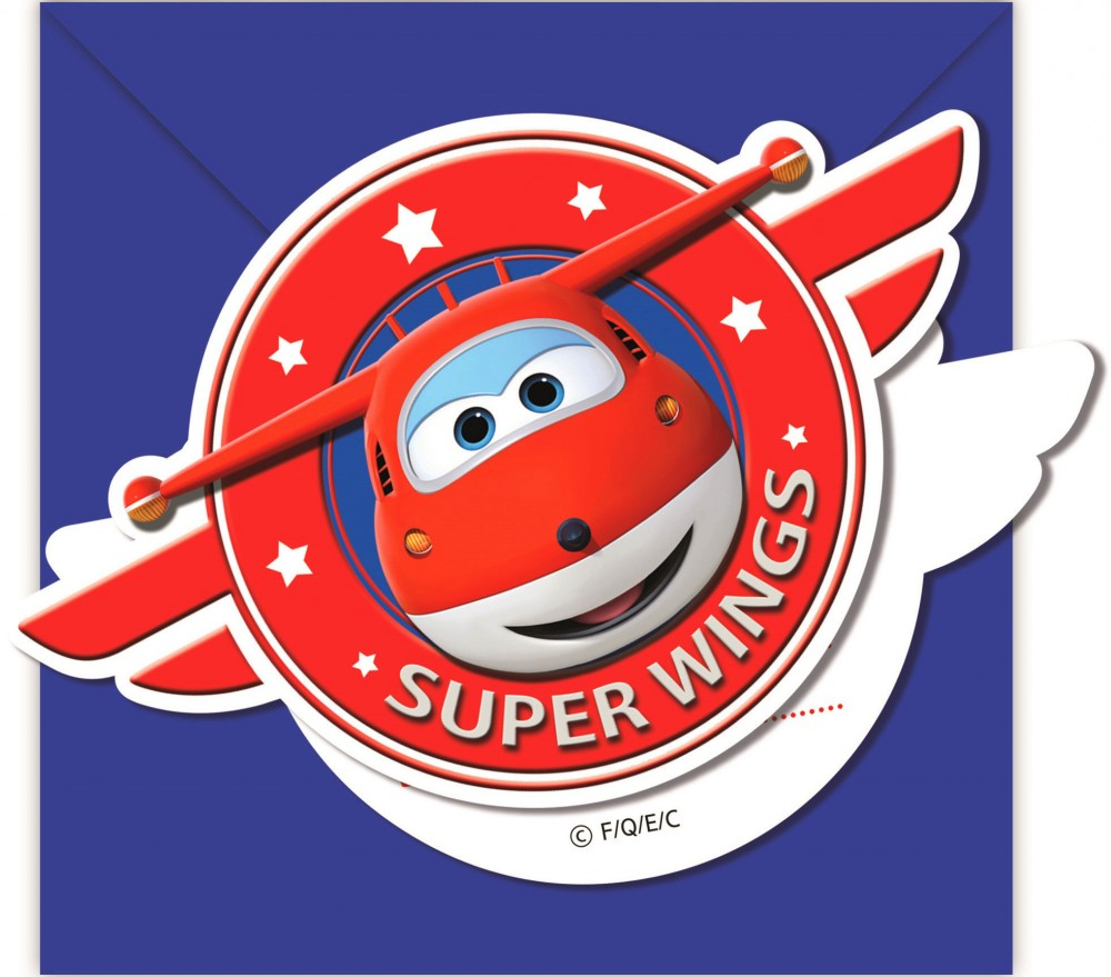 Super Wings Party Invitation Card + Envelope (6 pieces) - Javoli ...