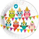 Owl Paper Plate (8 pieces) 23 cm (Metallic)